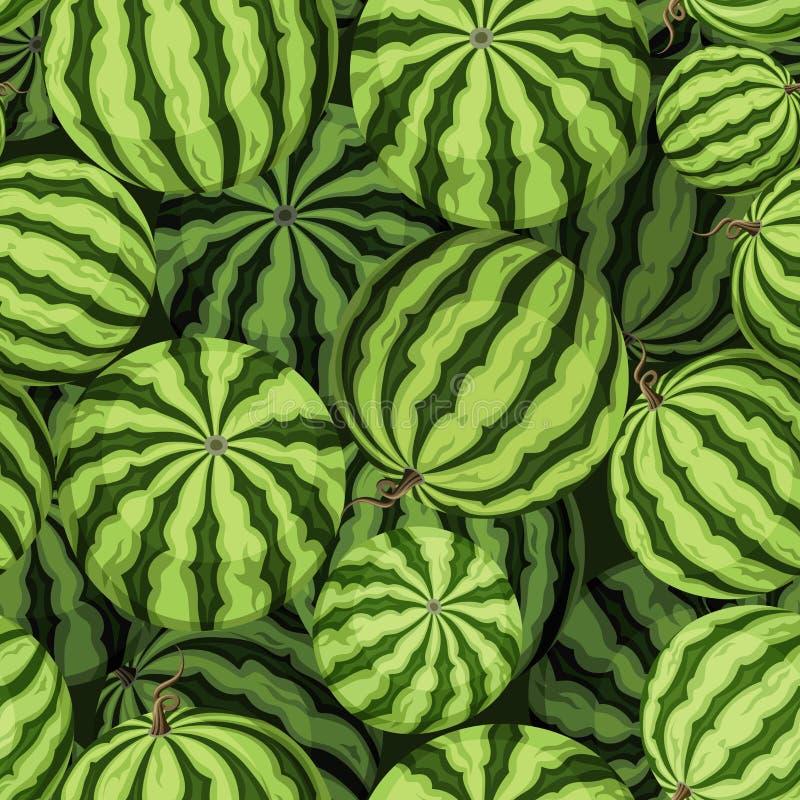 Άνευ ραφής υπόβαθρο με τα πράσινα καρπούζια επίσης corel σύρετε το διάνυσμα απεικόνισης ελεύθερη απεικόνιση δικαιώματος