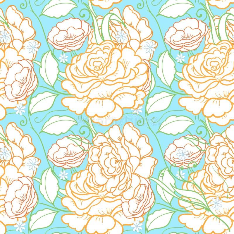 Άνευ ραφής υπόβαθρο με τα ρόδινα τριαντάφυλλα Διακοσμητικό σχέδιο με το όμορφο floral μοτίβο κήπων Μεγάλος για το ύφασμα και το κ ελεύθερη απεικόνιση δικαιώματος