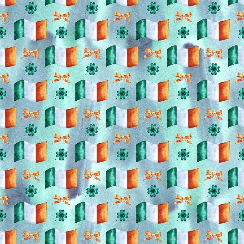 Άνευ ραφής υπόβαθρο με τα σύμβολα ημέρας του ST Πάτρικ Συρμένη χέρι απεικόνιση Watercolor με την ιρλανδική σημαία Σχέδιο διακοπών απεικόνιση αποθεμάτων