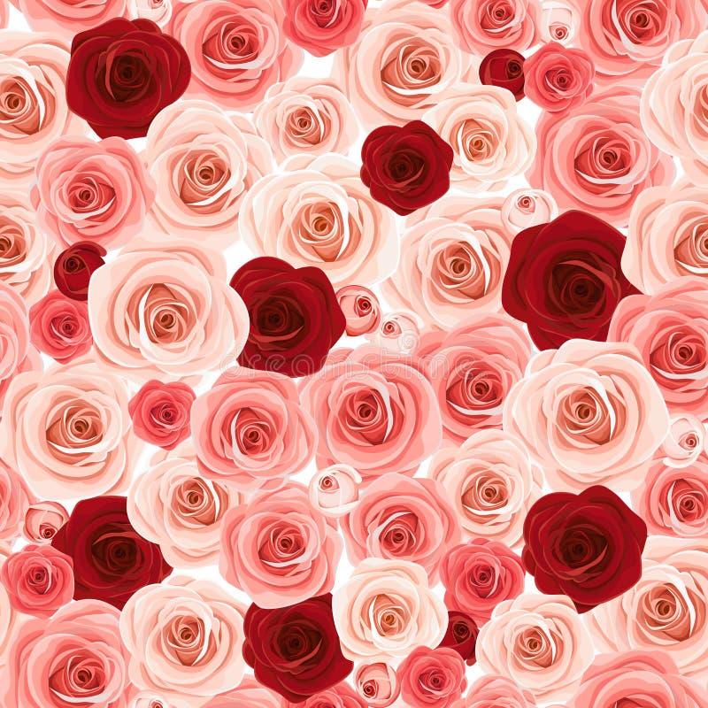 Άνευ ραφής υπόβαθρο με τα τριαντάφυλλα ροζ και burgundy επίσης corel σύρετε το διάνυσμα απεικόνισης απεικόνιση αποθεμάτων