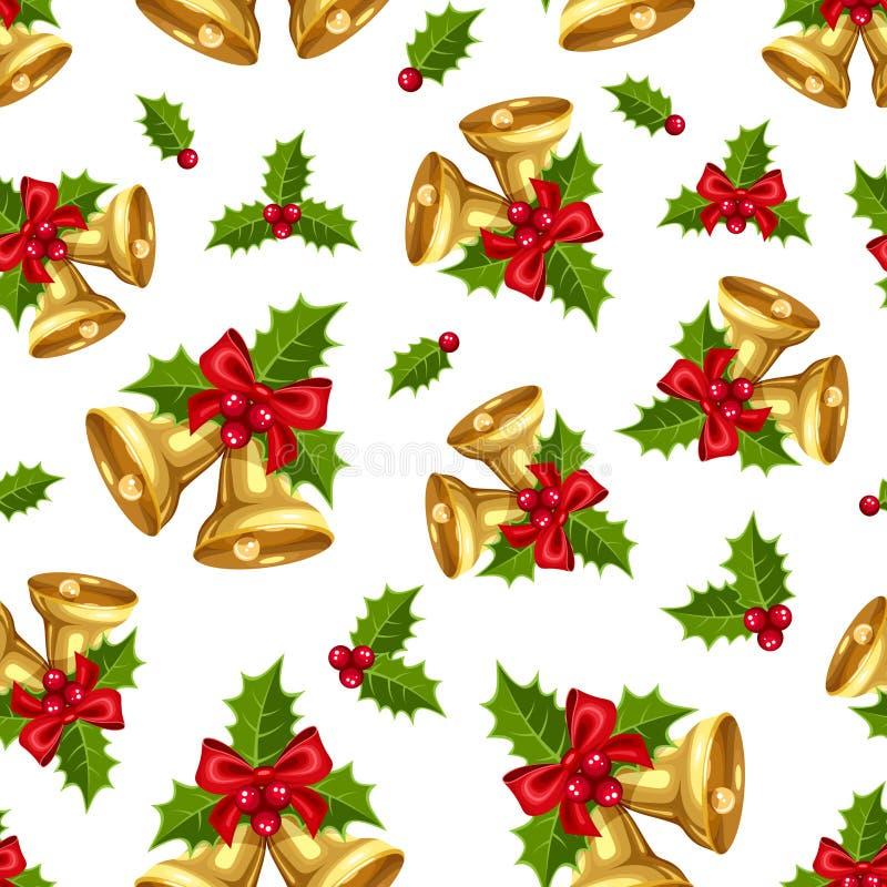 Άνευ ραφής υπόβαθρο με τα χρυσά κουδούνια Χριστουγέννων επίσης corel σύρετε το διάνυσμα απεικόνισης ελεύθερη απεικόνιση δικαιώματος