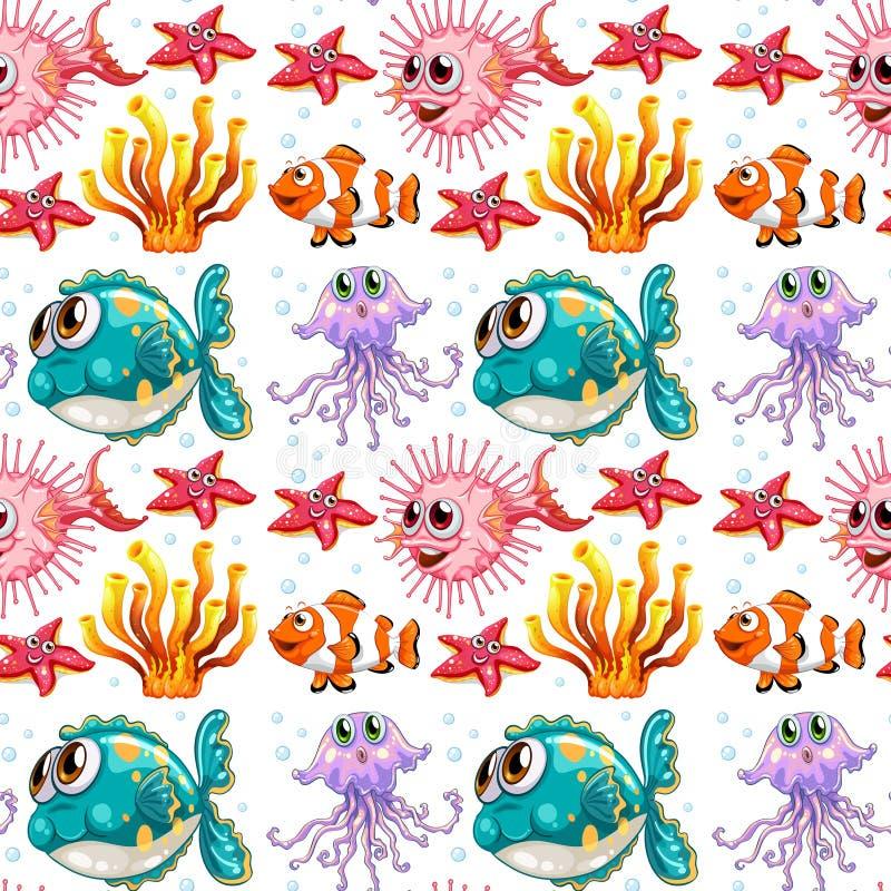 Άνευ ραφής υπόβαθρο με τα ψάρια και το κοράλλι απεικόνιση αποθεμάτων