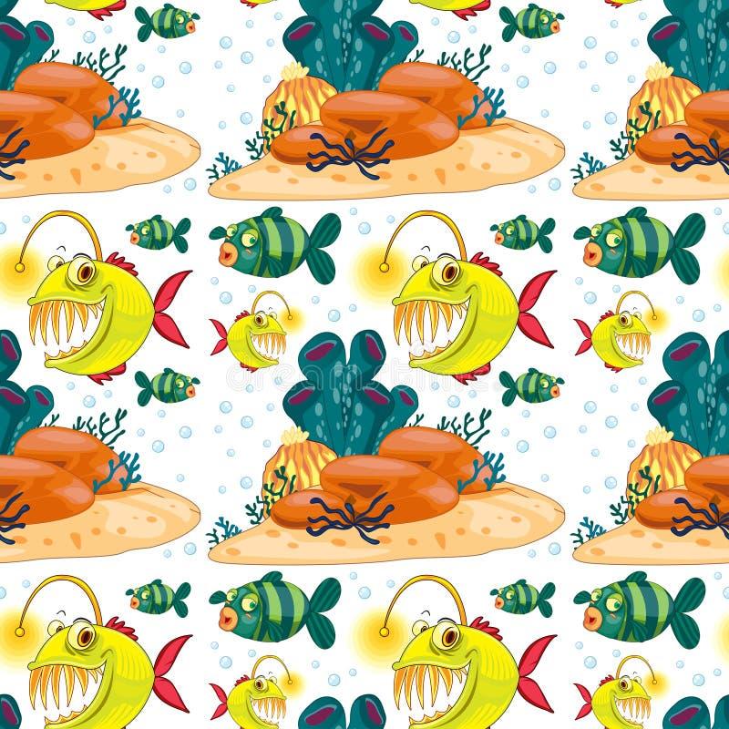Άνευ ραφής υπόβαθρο με τα ψάρια υποβρύχια διανυσματική απεικόνιση