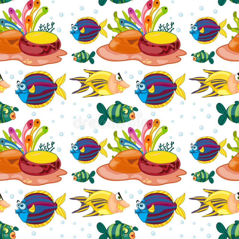 Άνευ ραφής υπόβαθρο με την κολύμβηση ψαριών υποβρύχια διανυσματική απεικόνιση