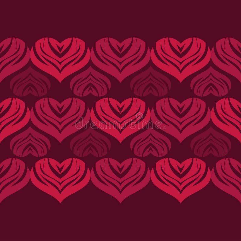 Άνευ ραφής υπόβαθρο με τις διακοσμητικές καρδιές βαλεντίνος ημέρας s επίσης corel σύρετε το διάνυσμα απεικόνισης ελεύθερη απεικόνιση δικαιώματος