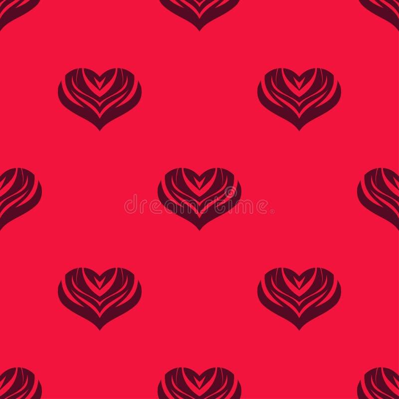 Άνευ ραφής υπόβαθρο με τις διακοσμητικές καρδιές βαλεντίνος ημέρας s επίσης corel σύρετε το διάνυσμα απεικόνισης απεικόνιση αποθεμάτων