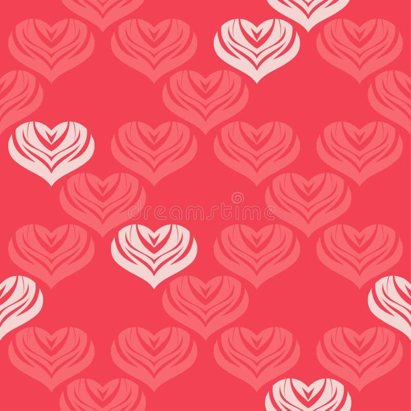 Άνευ ραφής υπόβαθρο με τις διακοσμητικές καρδιές βαλεντίνος ημέρας s επίσης corel σύρετε το διάνυσμα απεικόνισης διανυσματική απεικόνιση