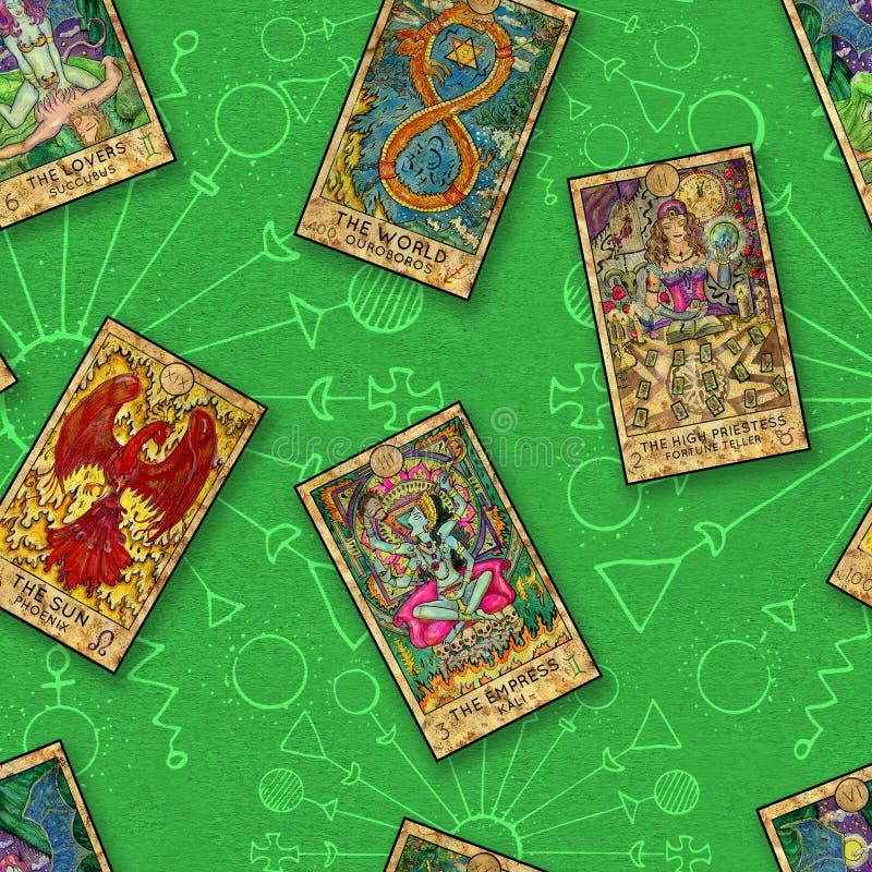 Άνευ ραφής υπόβαθρο με τις κάρτες Tarot σε πράσινο διανυσματική απεικόνιση