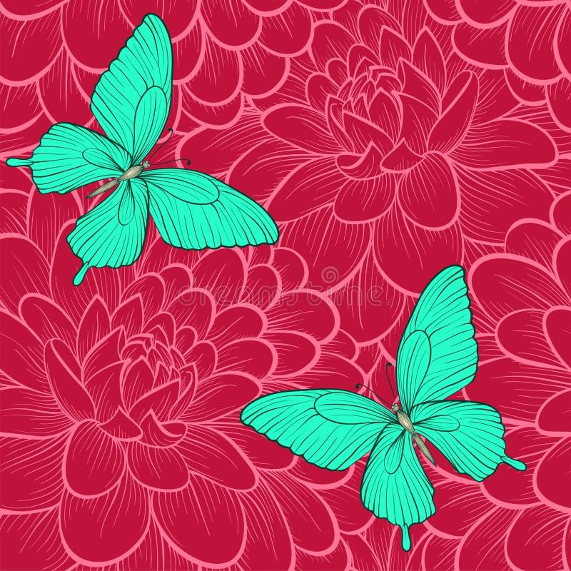 Άνευ ραφής υπόβαθρο με τις πεταλούδες και τις ντάλιες Hand-drawn γραμμές περιγράμματος Τελειοποιήστε για τις ευχετήριες κάρτες κα διανυσματική απεικόνιση
