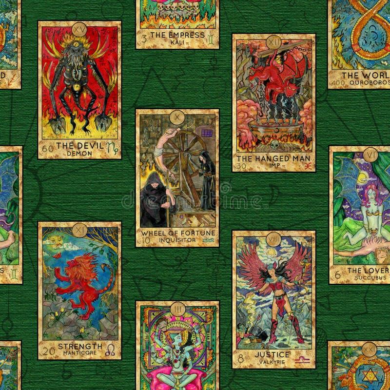 Άνευ ραφής υπόβαθρο με το σχεδιάγραμμα των ζωηρόχρωμων καρτών Tarot ελεύθερη απεικόνιση δικαιώματος
