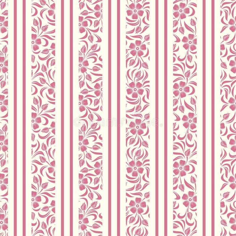 Άνευ ραφής υπόβαθρο με το floral σχέδιο και το λωρίδα απεικόνιση αποθεμάτων