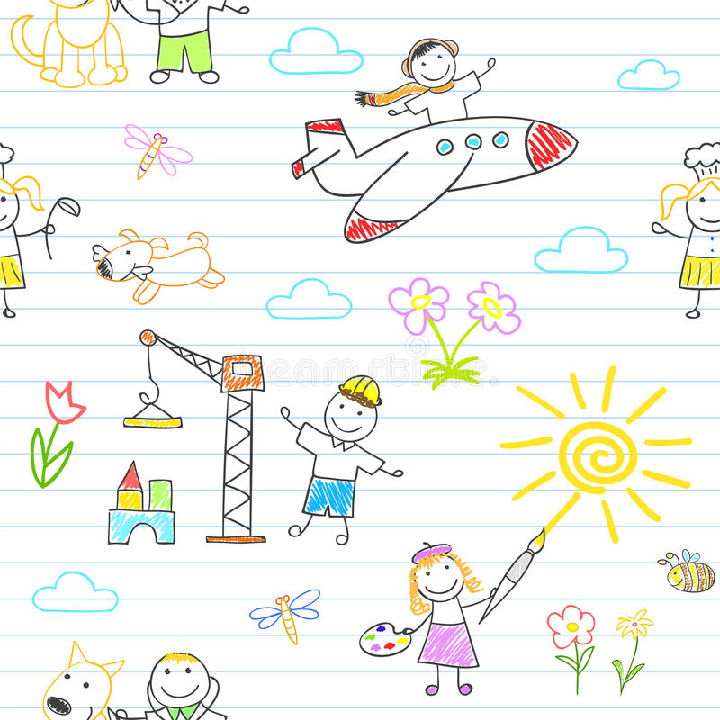 Άνευ ραφής υπόβαθρο με των ευτυχών παιδιών στην ένδυση εργασίας διανυσματική απεικόνιση