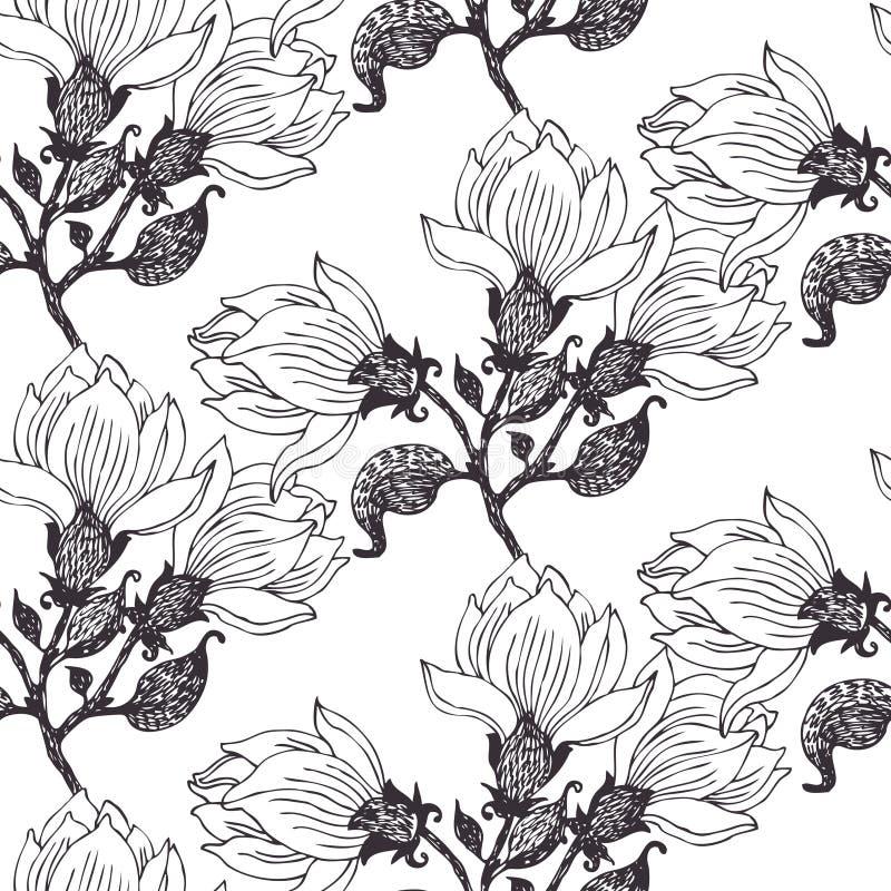 Άνευ ραφής υπόβαθρο λουλουδιών διανυσματική απεικόνιση