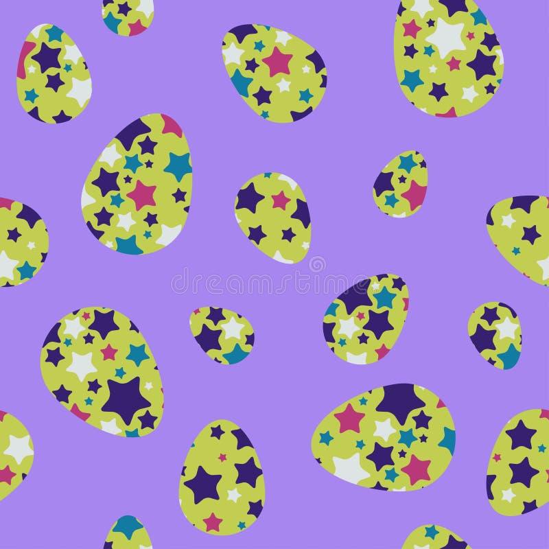 Άνευ ραφής υπόβαθρο Πάσχας με τα διακοσμημένα αυγά και ` Πάσχα ` απεικόνιση αποθεμάτων