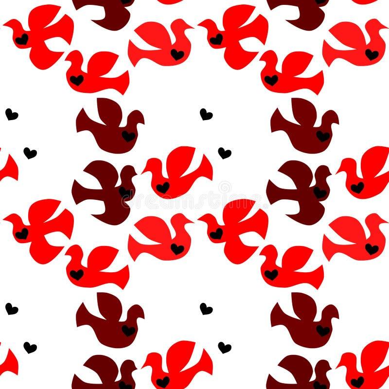 Άνευ ραφής υπόβαθρο πουλιών αγάπης διανυσματική απεικόνιση