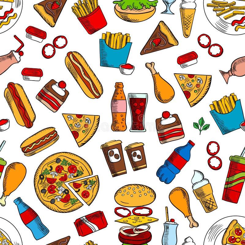 Άνευ ραφής υπόβαθρο πρόχειρων φαγητών και ποτών γρήγορου φαγητού απεικόνιση αποθεμάτων
