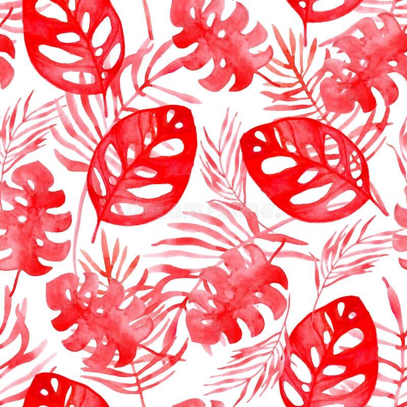 Άνευ ραφής υπόβαθρο σχεδίων απεικόνισης Watercolor των τροπικών φύλλων του χρώματος κοραλλιών ελεύθερη απεικόνιση δικαιώματος