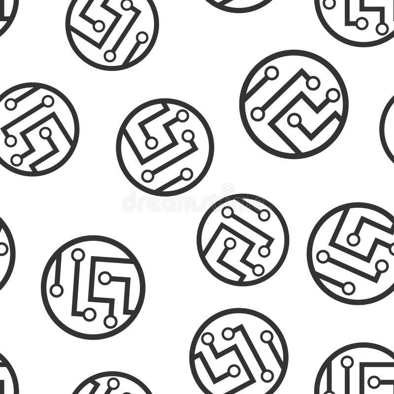 Άνευ ραφής υπόβαθρο σχεδίων εικονιδίων πινάκων κυκλωμάτων Διανυσματική απεικόνιση μικροτσίπ τεχνολογίας Σχέδιο συμβόλων μητρικών  ελεύθερη απεικόνιση δικαιώματος