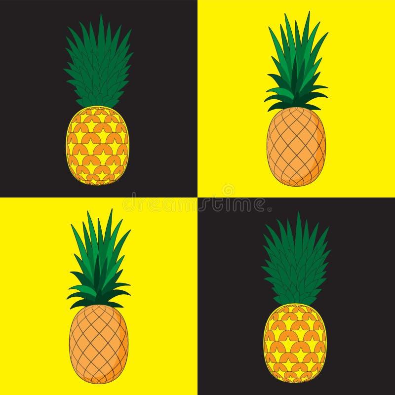 Άνευ ραφής υπόβαθρο σχεδίων Ο ανανάς στο υπόβαθρο χωρίζει σε τετράγωνα μαύρο κίτρινο Έμβλημα υφασμάτων εγγράφου σχεδίου τυπωμένων διανυσματική απεικόνιση