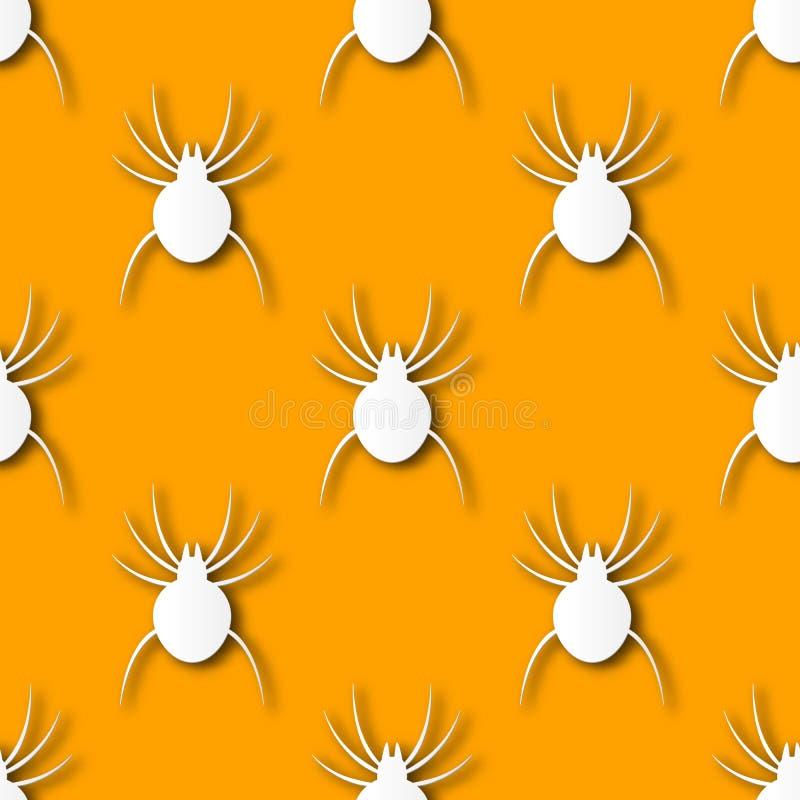 Άνευ ραφής υπόβαθρο σχεδίων τέχνης εγγράφου αραχνών αποκριών Πορτοκαλί χρώμα για την ευτυχή ημέρα αποκριών που διακοσμεί το τύλιγ απεικόνιση αποθεμάτων