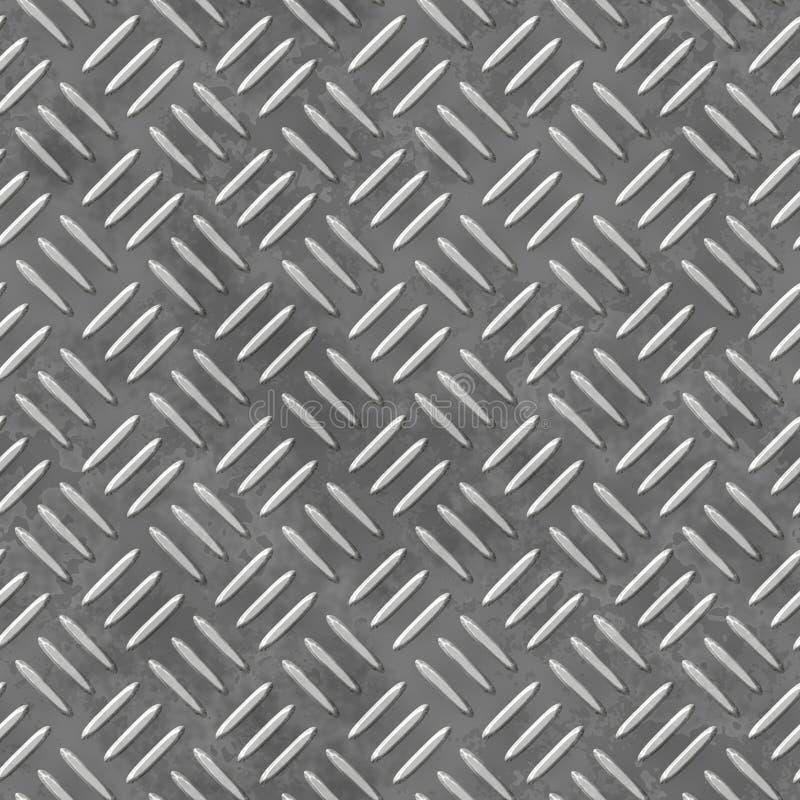 Άνευ ραφής υπόβαθρο σχεδίων φύλλων μετάλλων - πιάτο διαμαντιών - γκρίζο ασημένιο χρώμα απεικόνιση αποθεμάτων
