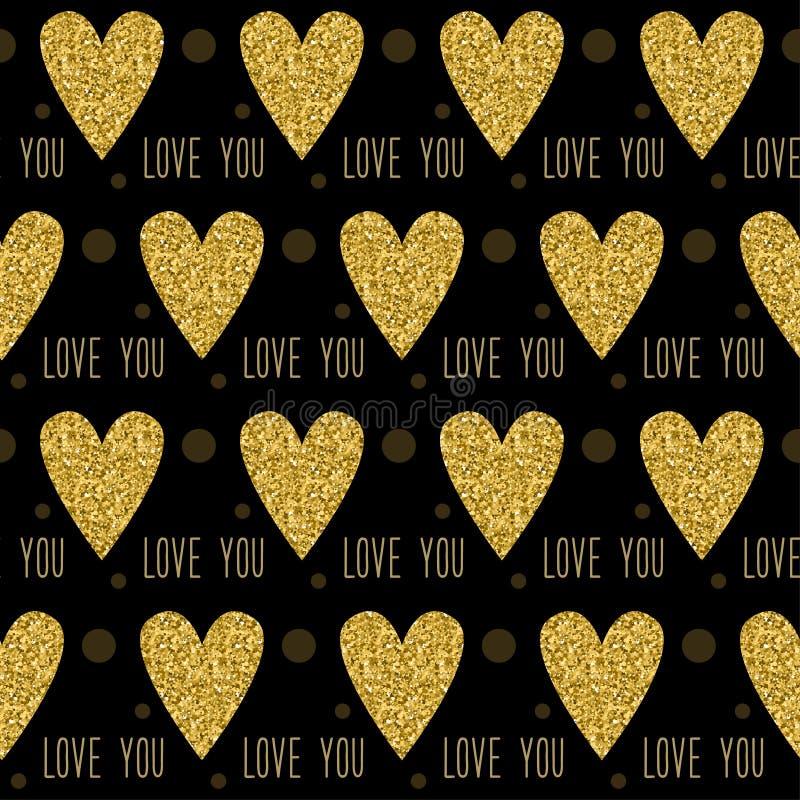 Άνευ ραφής υπόβαθρο σχεδίων αγάπης Ο χρυσός ακτινοβολεί σύσταση σπινθηρίσματος ελεύθερη απεικόνιση δικαιώματος