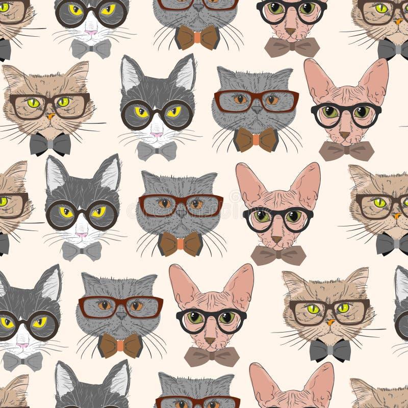 Άνευ ραφής υπόβαθρο σχεδίων γατών hipster διανυσματική απεικόνιση