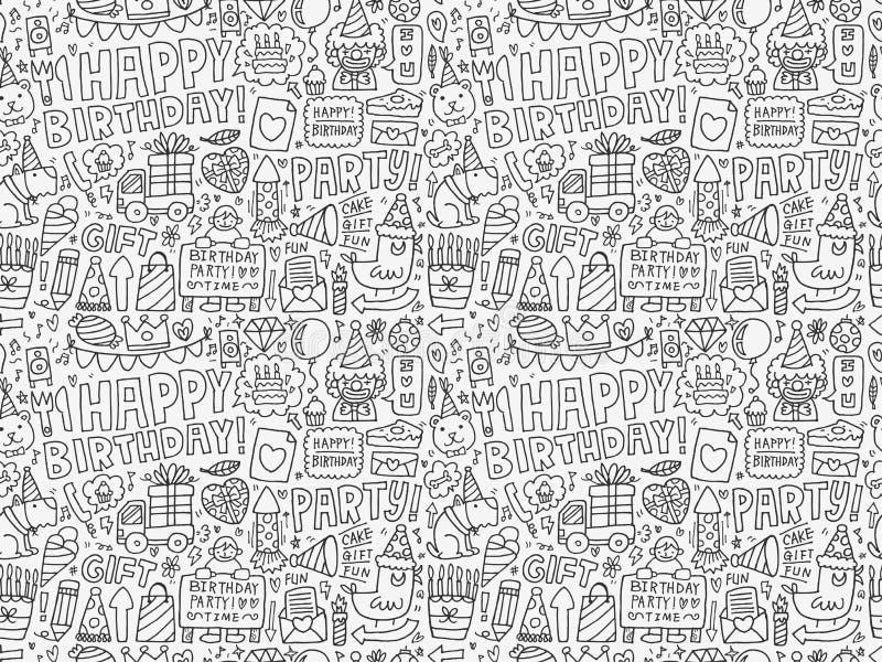 Άνευ ραφής υπόβαθρο σχεδίων γιορτής γενεθλίων Doodle απεικόνιση αποθεμάτων