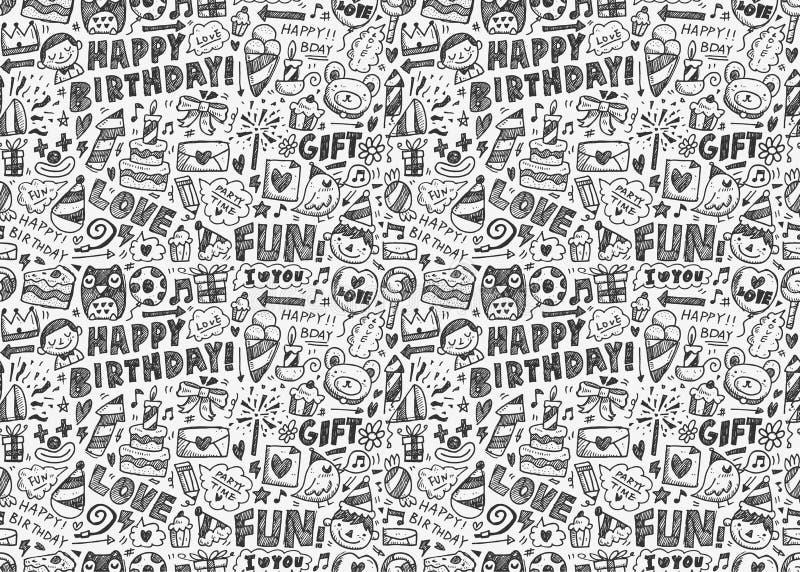 Άνευ ραφής υπόβαθρο σχεδίων γιορτής γενεθλίων Doodle ελεύθερη απεικόνιση δικαιώματος