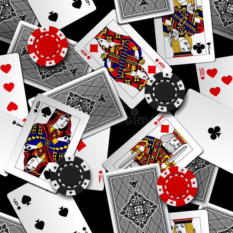 Άνευ ραφής υπόβαθρο σχεδίων καρτών παιχνιδιού και τσιπ χαρτοπαικτικών λεσχών ελεύθερη απεικόνιση δικαιώματος