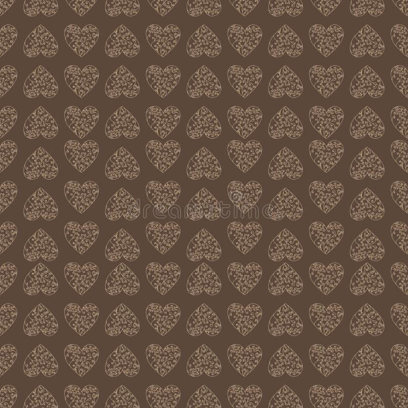 Άνευ ραφής υπόβαθρο σχεδίων με την καρδιά δαντελλών Καφετί χρώμα ελεύθερη απεικόνιση δικαιώματος