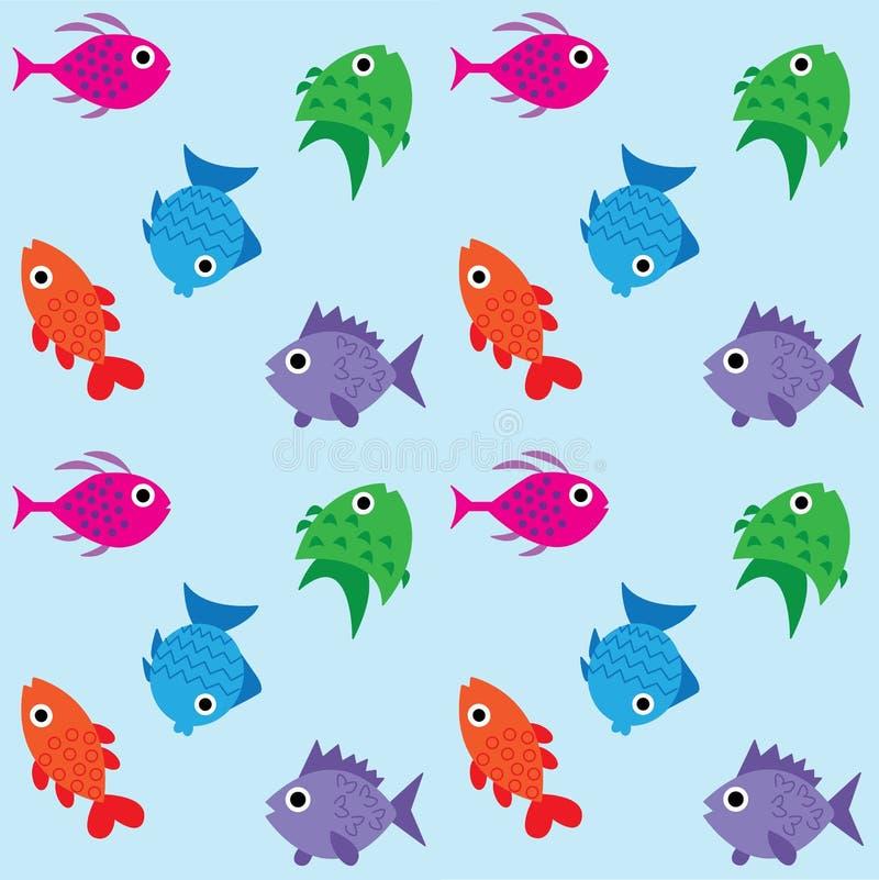 Άνευ ραφής υπόβαθρο σχεδίων ψαριών απεικόνιση αποθεμάτων