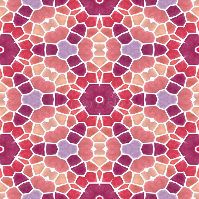 Άνευ ραφής υπόβαθρο σύστασης καλειδοσκόπιων μωσαϊκών - φράουλα κόκκινη, πορφυρή, ιώδης, ρόδινη και πορτοκαλί με το άσπρο ρευστοκο ελεύθερη απεικόνιση δικαιώματος