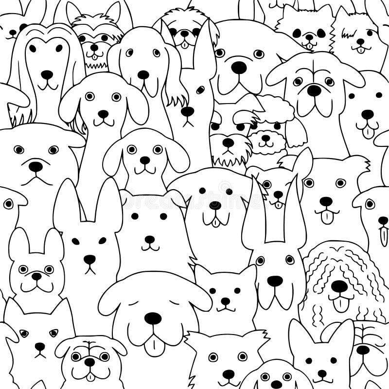 Άνευ ραφής υπόβαθρο τέχνης γραμμών σκυλιών doodle απεικόνιση αποθεμάτων