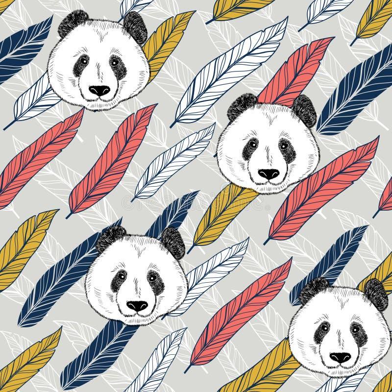 Άνευ ραφής υπόβαθρο της Panda με τα ζωηρόχρωμα φτερά r ελεύθερη απεικόνιση δικαιώματος