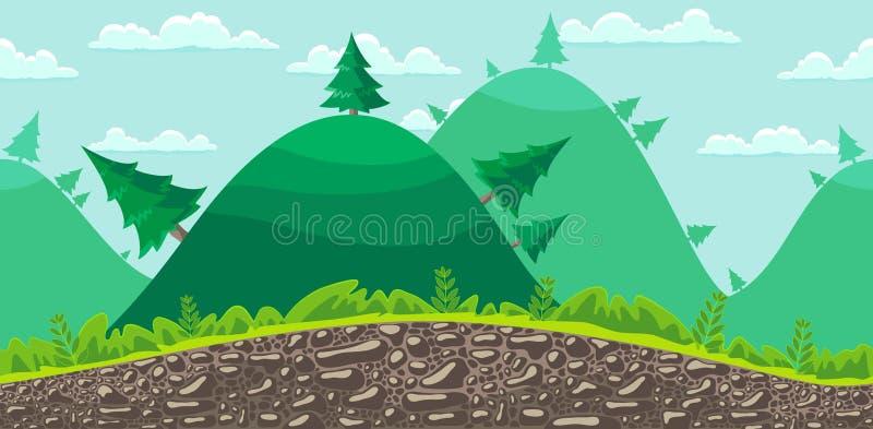 Άνευ ραφής υπόβαθρο τοπίων. Δάσος. απεικόνιση αποθεμάτων