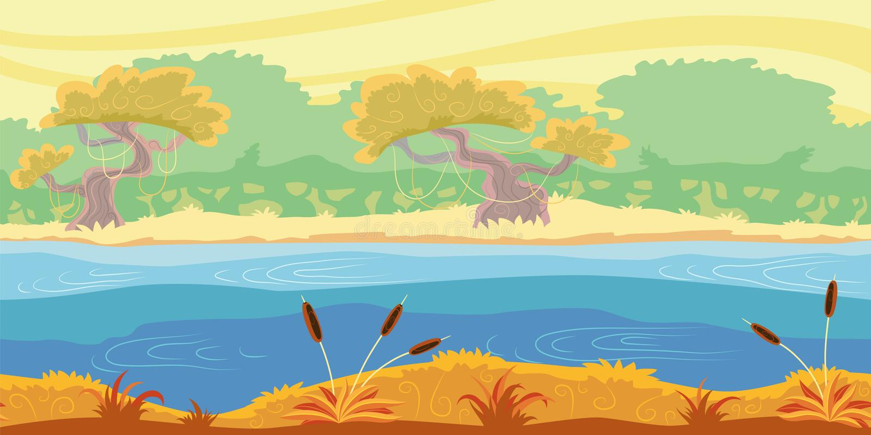 Άνευ ραφής υπόβαθρο τοπίων. Ζούγκλα. απεικόνιση αποθεμάτων
