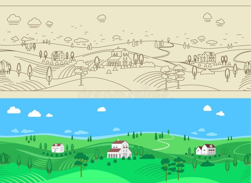 Άνευ ραφής υπόβαθρο τοπίων θερινών αγροκτημάτων διανυσματική απεικόνιση