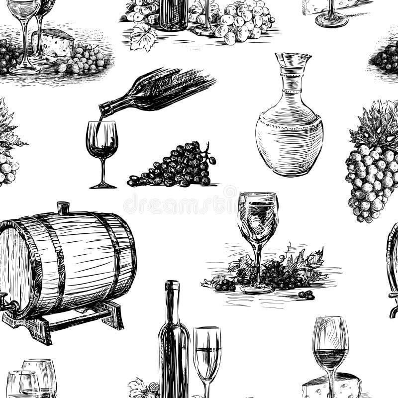 Άνευ ραφής υπόβαθρο του θέματος της κατασκευής κρασιού ελεύθερη απεικόνιση δικαιώματος