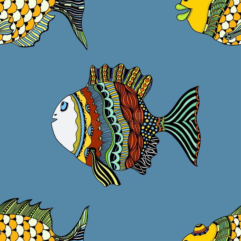 Άνευ ραφής υπόβαθρο των αφηρημένων ψαριών ελεύθερη απεικόνιση δικαιώματος