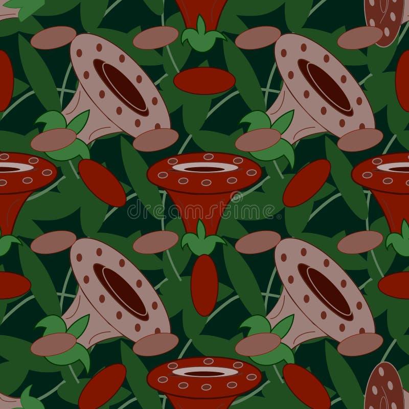 Άνευ ραφής υπόβαθρο των εύθυμων και ζωηρόχρωμων μανιταριών διανυσματική απεικόνιση