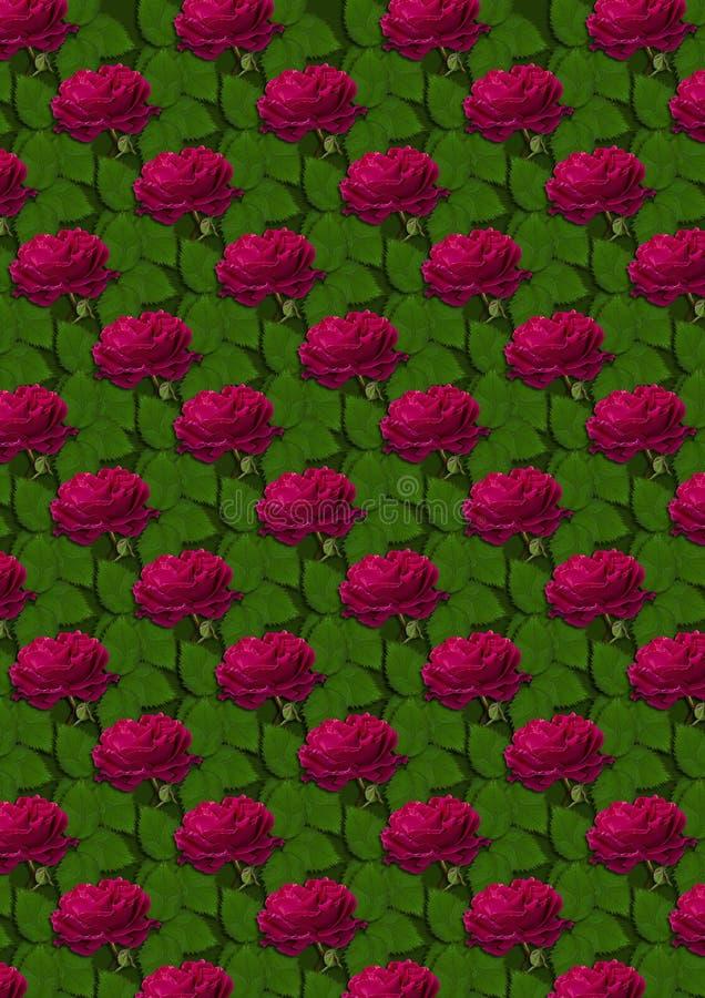 Άνευ ραφής υπόβαθρο των κόκκινων τριαντάφυλλων σε ένα πράσινο υπόβαθρο στοκ φωτογραφίες με δικαίωμα ελεύθερης χρήσης