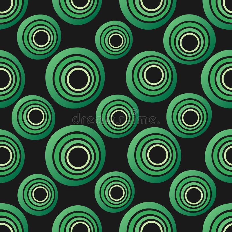Άνευ ραφής υπόβαθρο των ομόκεντρων κύκλων στα πράσινα χρώματα νέου στο Μαύρο ελεύθερη απεικόνιση δικαιώματος