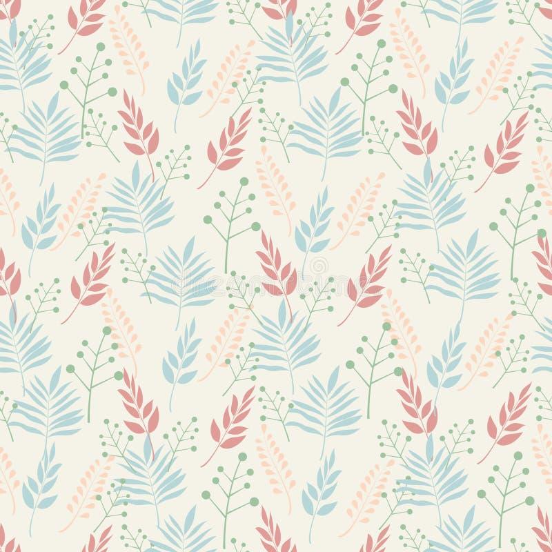 Άνευ ραφής υπόβαθρο των σχεδίων των φύλλων φυτών και των κλάδων των φύλλων στα χρώματα κρητιδογραφιών σε ένα μπεζ υπόβαθρο απεικόνιση αποθεμάτων
