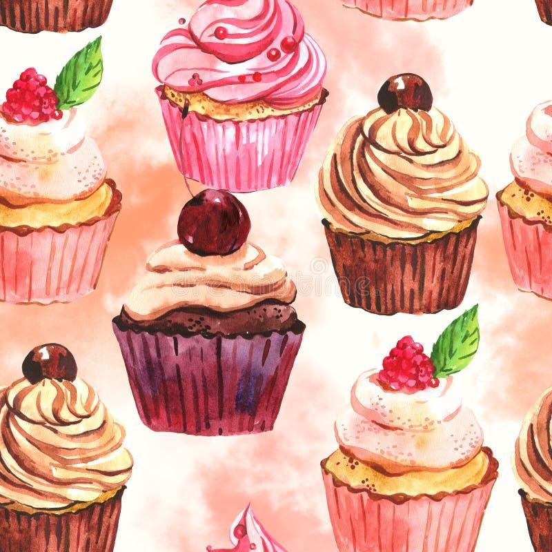 Άνευ ραφής υπόβαθρο cupcake Watercolor ελεύθερη απεικόνιση δικαιώματος