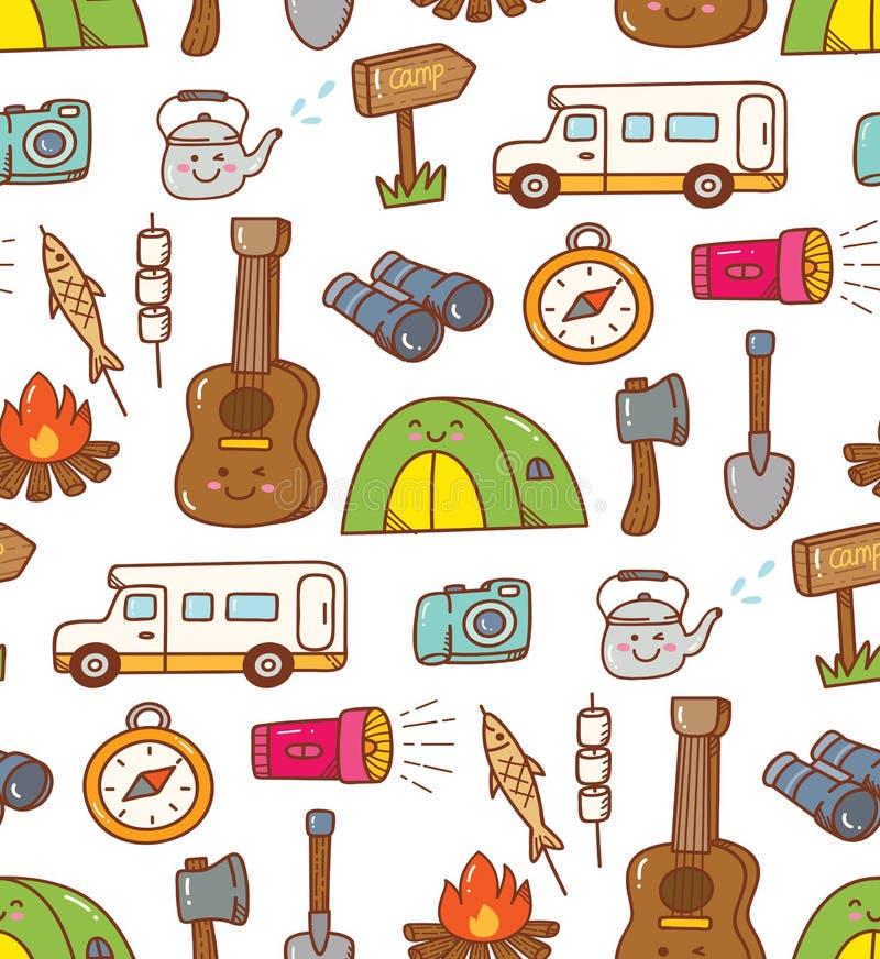 Άνευ ραφής υπόβαθρο kawaii ουσίας στρατοπέδευσης doodle διανυσματική απεικόνιση