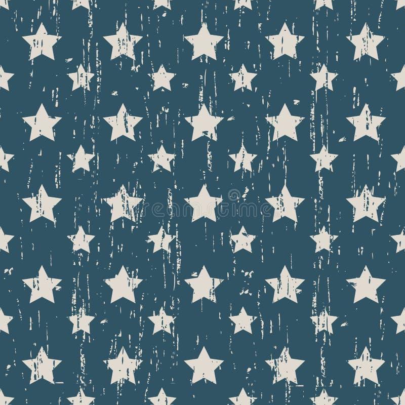 Άνευ ραφής φθαρμένο τρύγος υπόβαθρο σχεδίων μορφής αστεριών απεικόνιση αποθεμάτων