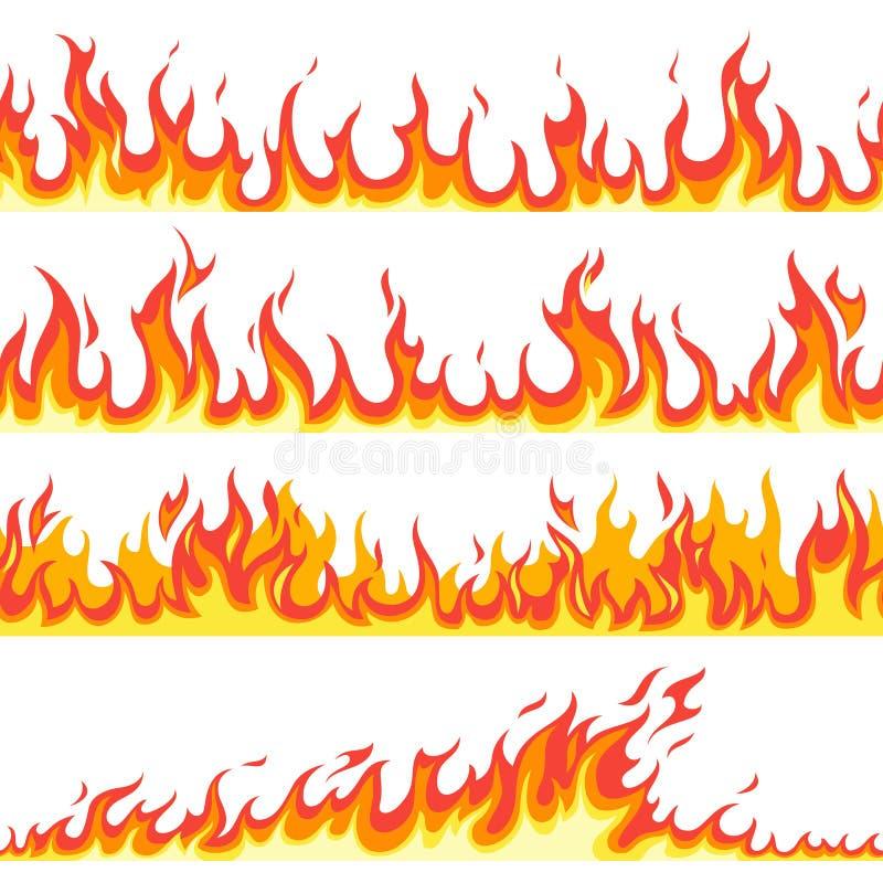 Άνευ ραφής φλόγα πυρκαγιάς Βάζει φωτιά στο φλεμένος σχέδιο, εύφλεκτη καυτή θερμοκρασία φλόγας γραμμών, διάνυσμα κινούμενων σχεδίω ελεύθερη απεικόνιση δικαιώματος
