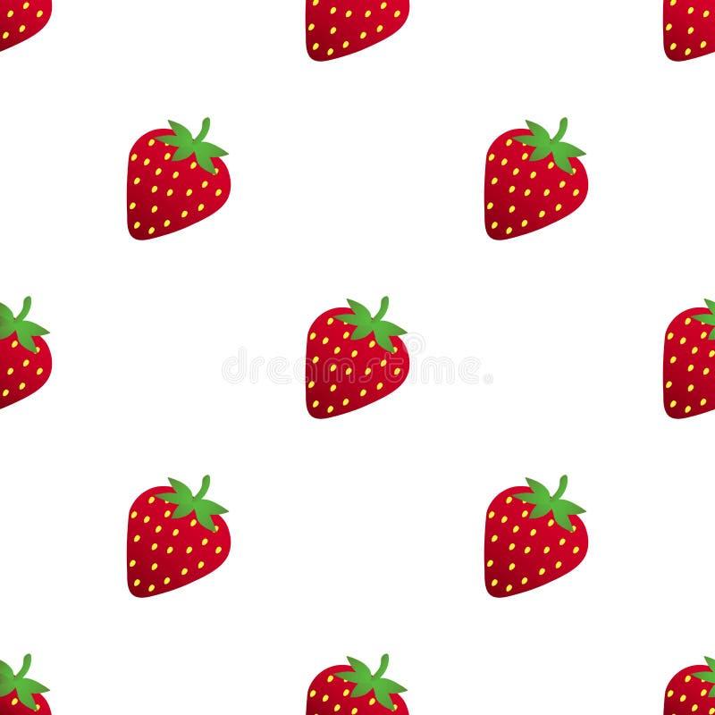 άνευ ραφής φράουλες προτύ διανυσματικό λευκό καρ&chi απεικόνιση αποθεμάτων