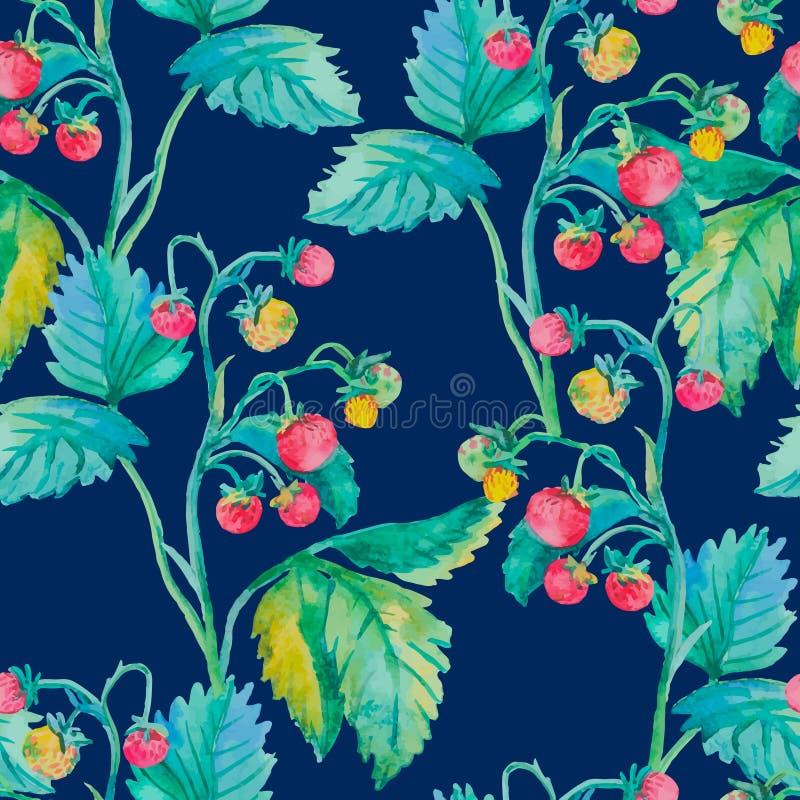 άνευ ραφής φράουλα watercolor _ διανυσματική απεικόνιση